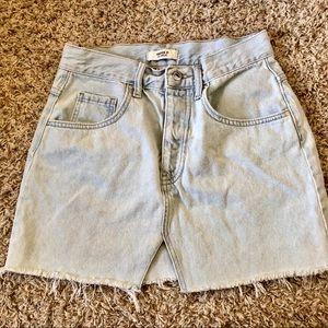 High Waist Raw Hem Denim Mini Skirt